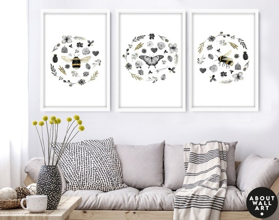 Cottage core wall art decor, Floral and bees home decor set of 3 wall hangings, botanical living room decor, save the bees housewarming gift