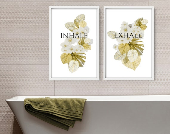 Bathroom Quotes Prints Set of 2, Botanical Prints Wall Art , Aesthetic Spa Decoration, First Home gift for best friend, Relaxation gift