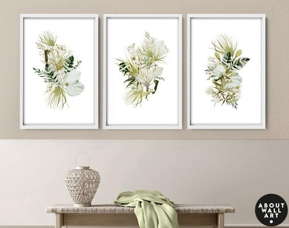 Botanical Illustration art prints, Greenery home decor gift, tropical wall art set of 3, entryway decor, Home Decor wall art, plant mom gift