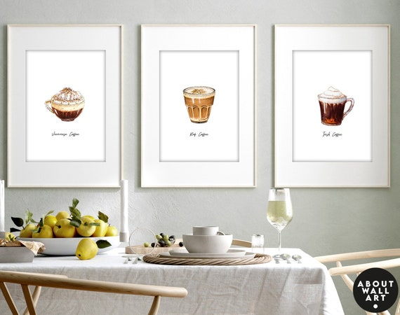 Kitchen gift for new flat owners, housewarming gift for new house, Kitchen framed prints set x 3, Kitchen breakfast bar table wall decor