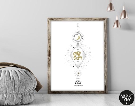 Zodiac art prints Aquarius gift, Horoscope print personalised gift for sister, Aquarius Constellation, January February Birthday gift