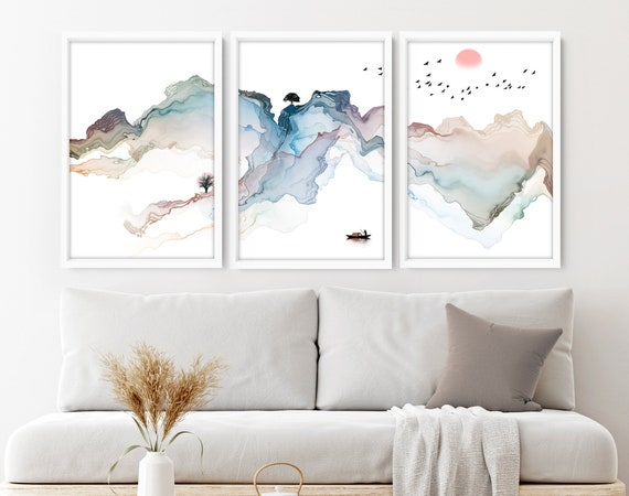 Calming Watercolor Painting Print   Set of 3 Minimalist Wall Prints   Zen Wall Art   Modern Artwork for Office Decor and Living Room