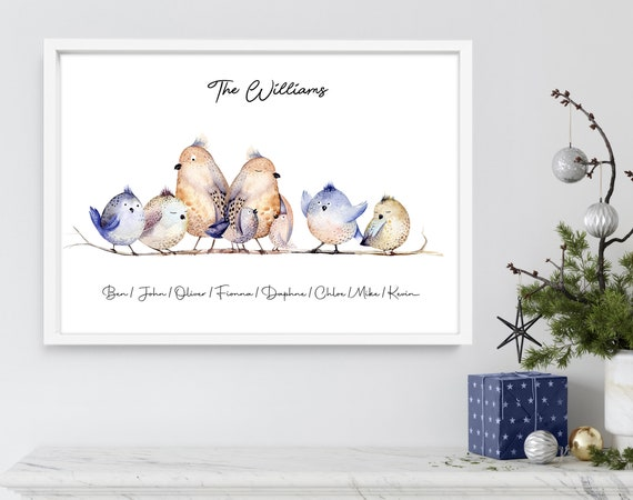 Cute gift for mom, Nana Mothers Day, Robin family Print, Custom Family Gift, Personalized gifts for moms,  Gift For Mum