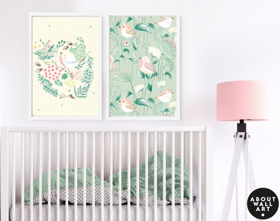 Woodland boho little birds pastel nursery set x 2 art prints for baby girl, baby shower gift for expecting mom, first time mom gift