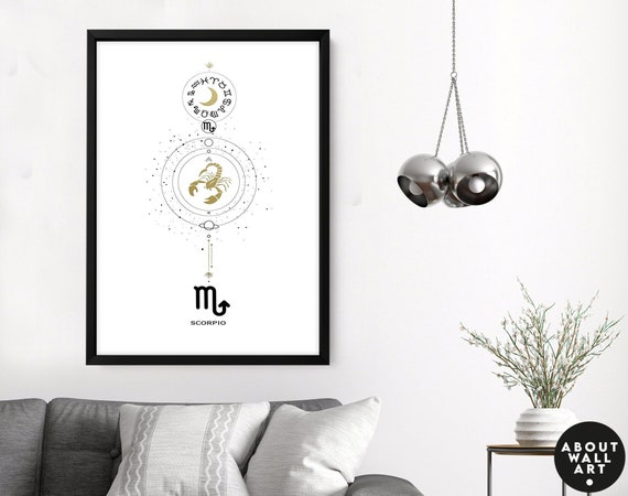 Zodiac art prints Scorpio gifts, Horoscope print personalised gift, Scorpio Constellation, October November Birthday gift, Astrology Gift