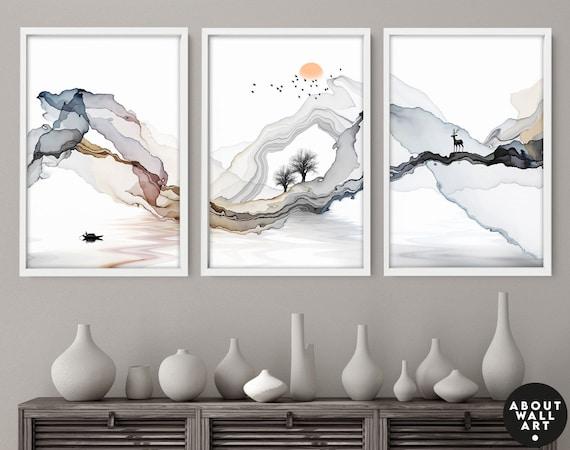 Sunrise trendy watercolour art print, night sky home decor prints, boho decor bedroom wall art prints set x 3, calming poster, relaxing gift