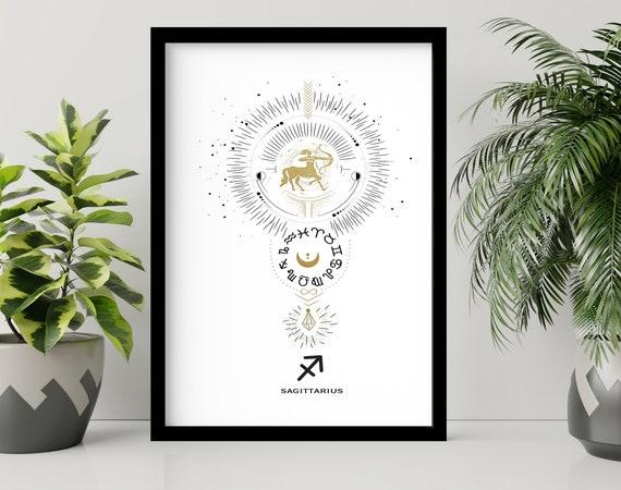 Zodiac art prints Sagittarius gift, Horoscope print personalised gift for sister, Sagittarius Constellation, November December Birthday gift