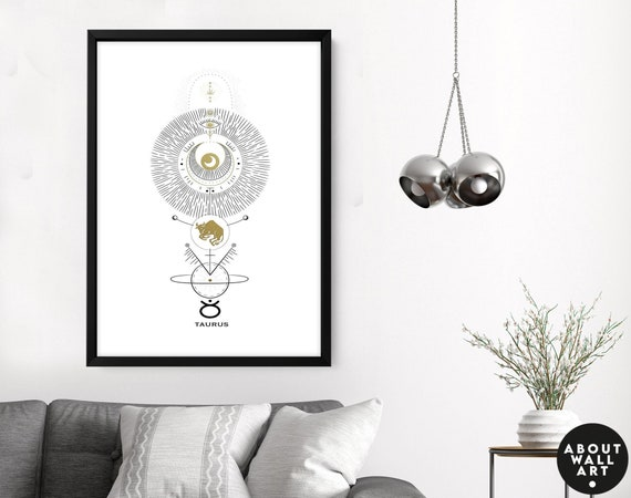 May Birthday gift, Wall art prints Taurus gifts, Horoscope print personalised gift for sister, Taurus Constellation, April Birthday gift