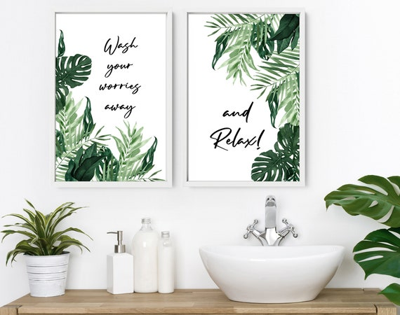 Home Decor bathroom, wall decor set of 2 Prints, bathroom wall art, Spa Bathroom Decor, New home gift for friend, Boho Decor, Bohemian Decor