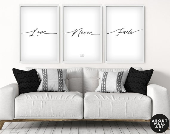 Love Never Fails Print , Male and Female Prints, Above Bed Decor, Our First Home 3 Piece Wall Art, Gift for Couples New Home