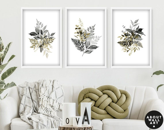 Botanical watercolor greenery set of 3 piece wall art decor prints for living room, Calming nature wall art, housewarming gift  first home
