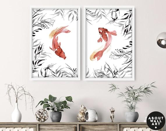 Home Decor Wall hanging, Koi Fishes Home Decor Wall art, Office decor gift for her, Zen Garden Set of 2 Prints, Japanese Art New Home gift