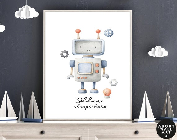 Space themed nursery decor for baby boys, wall art print toddler kids custom name design, watercolor muted Robots prints, baby shower gift