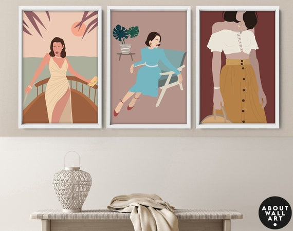 Boho Girl wall art Prints set x 3, Feminist poster, Empowered Women print Set,  Bohemian Decor Female Wall art, female home decor, Fashion