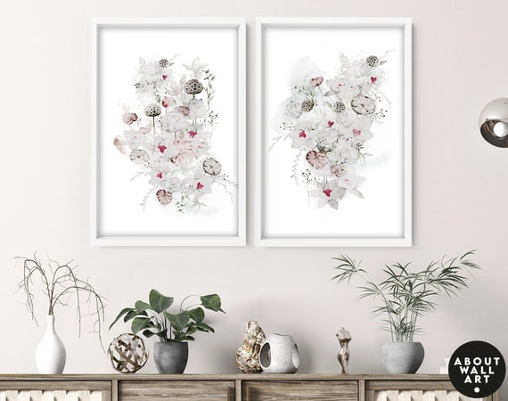 Greenery home decor gift, botanical art print, tropical wall art set of 2, entryway decor, Home Decor wall art, plant mom gift from daughter