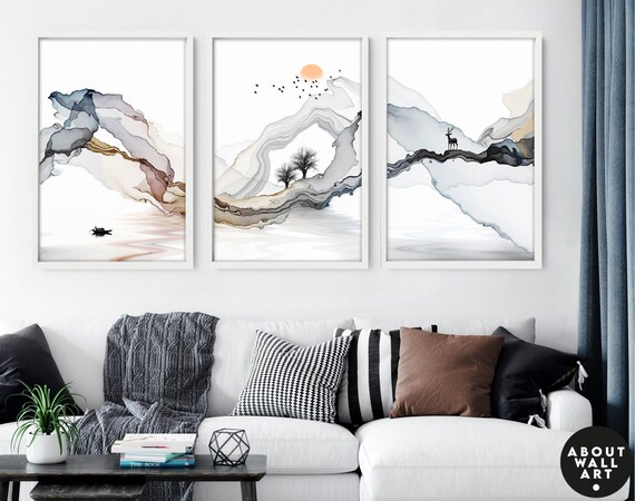 Japanese Painting poster prints set x 3, Earth toned calming office decor, Asian inspired wall decor, Landscape minimalist mountain scape