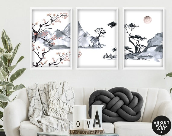 Office decor wall art, Home decor Japanese art, calming zen wall decor, botanical illustration living room decor, minimalist print, new home