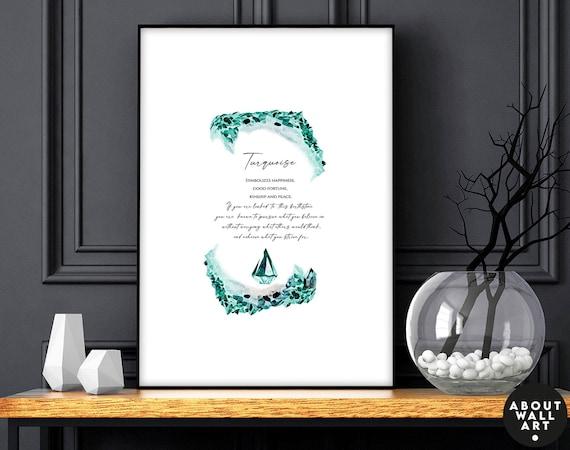 Turquoise Birthstone crystal Art Print, December Birthday Gift, Turquoise stone personalised gift for wife, Sagittarius Capricorn gemstone