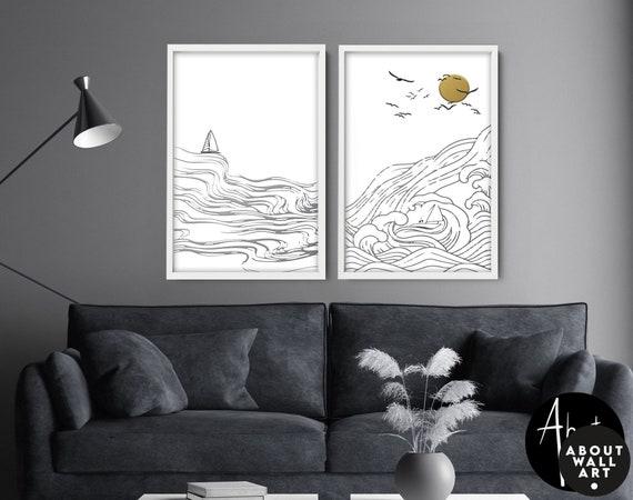 Wall Decor living room Coastal Decor Set of 2 wall art prints, Nautical Decor wall hangings, sea decor, New Home Beach decor gift for friend