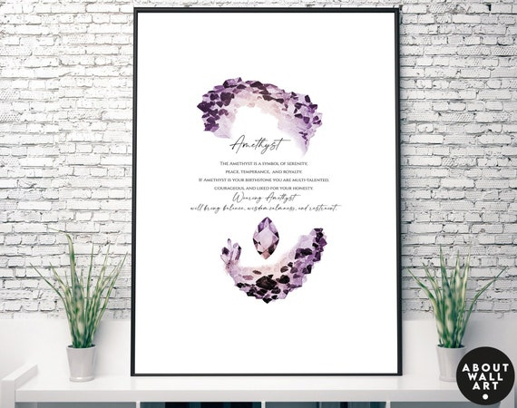Amethyst Birthstone crystals Art Print, February Birthday Gift, Amethyst stone gift, personalised gift  Aquarius and Pisces Birthstone gift