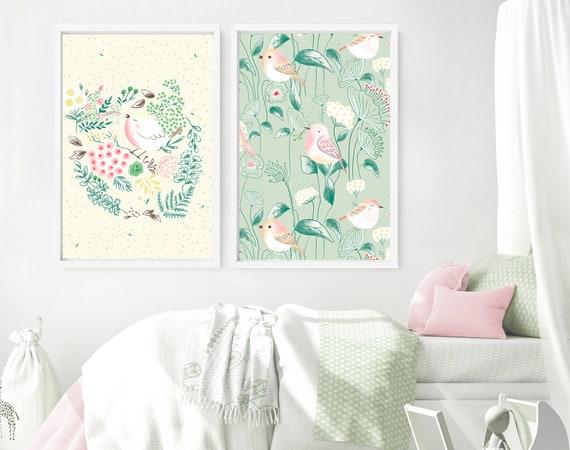 Cottagecore decor nursery bedroom art prints for baby girl, Set of 2 custom name wall art nursery , woodland boho little birds nursery