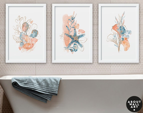 bathroom prints Set of 3, Seashell art, bathroom wall decor, Bathroom wall art, Spa bathroom Decor, Boho Chic Wall Art, Coastal Decor Gift