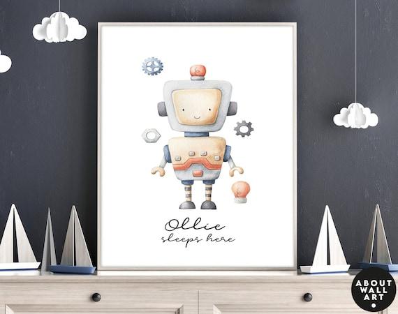 Robots Kids desk decor, wall art  print set for baby boy nursery decor, custom name toddler boy art prints, mom to be gift, expecting mom