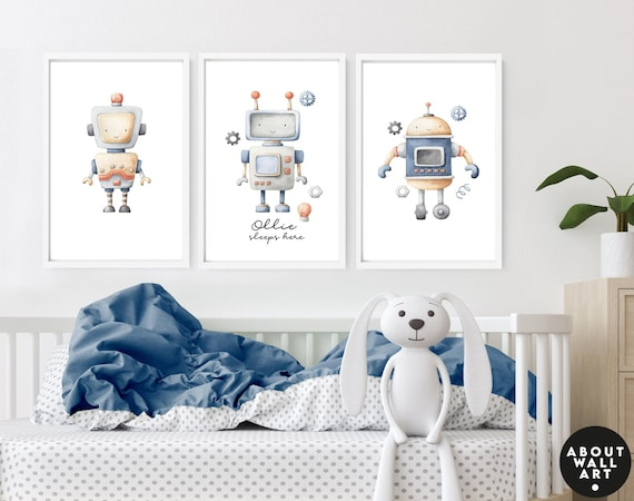 Space themed nursery decor for baby boys, 3 piece wall art toddler kids custom name design, watercolor muted Robots prints, baby shower gift