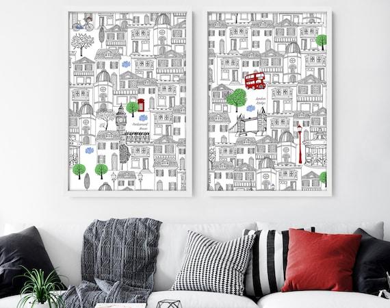 London Set of 2 Prints, London Monuments Illustration Print, London City Outline silhouette, Iconic Landmarks, England, Great Britain, UK