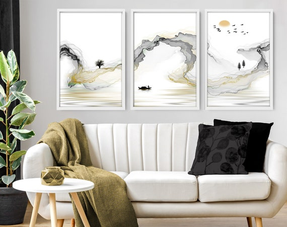 Japanese Painting poster prints set x 3, Grey calming office decor, Asian inspired wall decor, Landscape minimalist mountain scape prints
