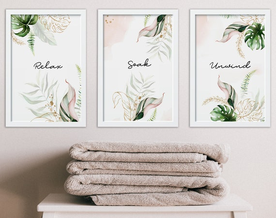 Relaxation Gifts For Women, Mothers Birthday Gift From Daughter, Self Care Gift, Spa Bathroom Decor, Botanical Art Prints Set of 3