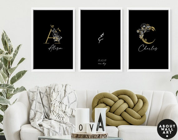 Unique wedding gift for couple, Male and Female Prints, Line Drawing, Above Bed Decor, Our First Home 3 Piece Wall Art, Gift for New Home