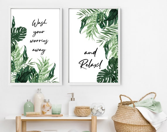 Home Decor Bathroom art prints set of 2, Botanical, Tropical Spa Bathroom Decor, relax sign bathroom, Mothers Birthday gift from daughter,
