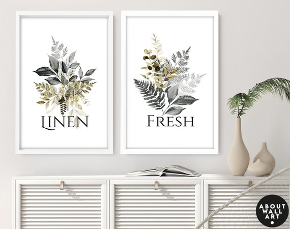 Home Decor Laundry room art prints set of 2, Botanical, Tropical Spa Utility room Decor, Linen fresh, Mothers Birthday gift from daughter,
