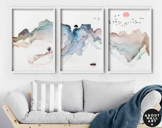 Watercolor painting mountain wall art prints set of 3, office decor gift for women, Home Decor Wall Art, housewarming gift, Japanese art,