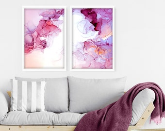 Wall decor Living Room, Wall hanging set x 2 Prints, Office decor,  Above bed decor, Extra large abstract art, New Home gift for friend