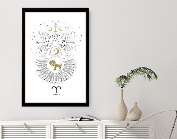 Zodiac art prints Aries gifts, Horoscope print personalised gift for sister, Aries Constellation, April and March Birthday gift, Astrology