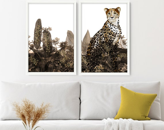 Jungle Animals Set of 2 art Print, Tropical Gold Home Decor wall hanging, Office decor wall art, Exotic Cheetah Gold Decor for living room,