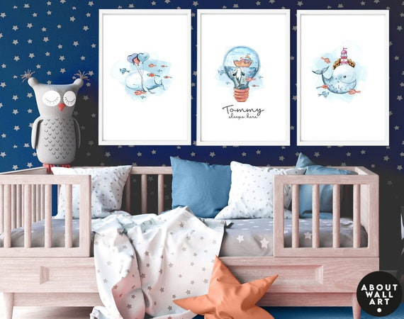 Under the sea nursery decor for baby boys, Set of 3 custom name Ocean art prints, Nautical bedroom wall art for toddler boy, mom to be gift