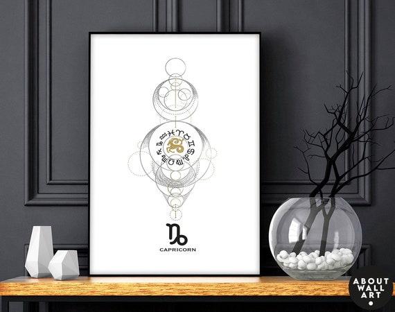 Zodiac art prints Capricorn gift, Horoscope print personalised gift for sister, Capricorn Constellation, December January Birthday gift