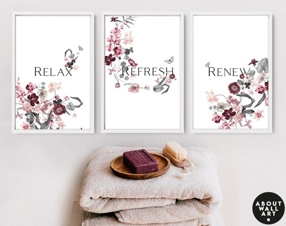 Bathroom Wall Decor, Home Decor Bathroom, Spa Bathroom Decor, Guest Bathroom Print set of 3 , Bohemian Decor, Relaxation Gifts for mothers