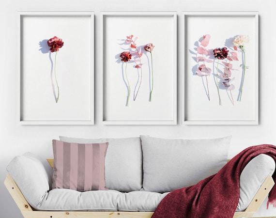 Cottagecore decor bedroom art prints, Floral wall hanging home decor set x 3, Botanical Living room decor wall decor art prints