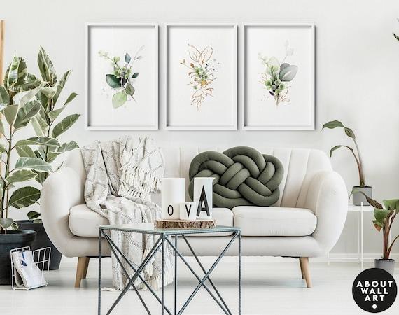 Watercolour Greenery wall art set x 3 botanical art prints, wall decor living room greenery paintings for home decor, boho art print set