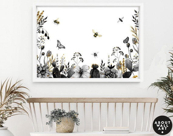 Cottage core kitchen wall art decor, cotaggecore bedroom art print, Floral and bees home decor wall hanging, botanical living room decor
