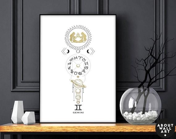 May birthday gift, Zodiac art prints Gemini gifts, Horoscope print personalised gift for sister, Gemini Constellation, June Birthday gift