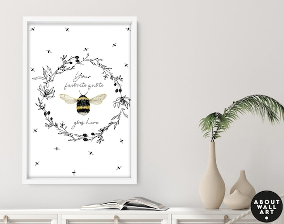 Cottage core kitchen wall art decor, cottagecore bedroom art prints, Floral and bees home decor wall hanging, botanical living room decor