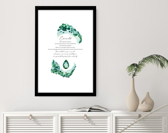 May Birthday Gift for sister, Emerald Wall art, Emerald Birth Stone, Emerald opal gift wife, personalised gift for sister, Emerald queen art