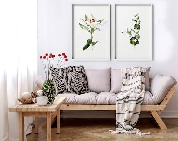 Cottagecore decor bedroom art prints, Floral wall hanging home decor set x 2, Botanical Living room decor wall decor art prints