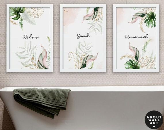 Bathroom prints set of 3,  bathroom wall decor, Bathroom wall art, Relaxation gifts, Spa Decor, Botanical Bathroom, Tropical Bathroom art