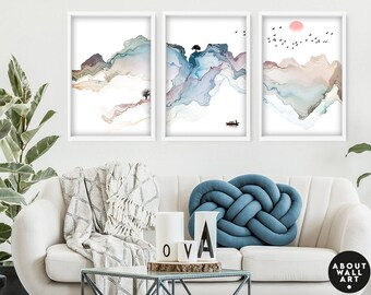 Japanese Painting poster prints set x 3, Pastel calming office decor, Asian inspired wall decor, Landscape minimalist mountain scape prints